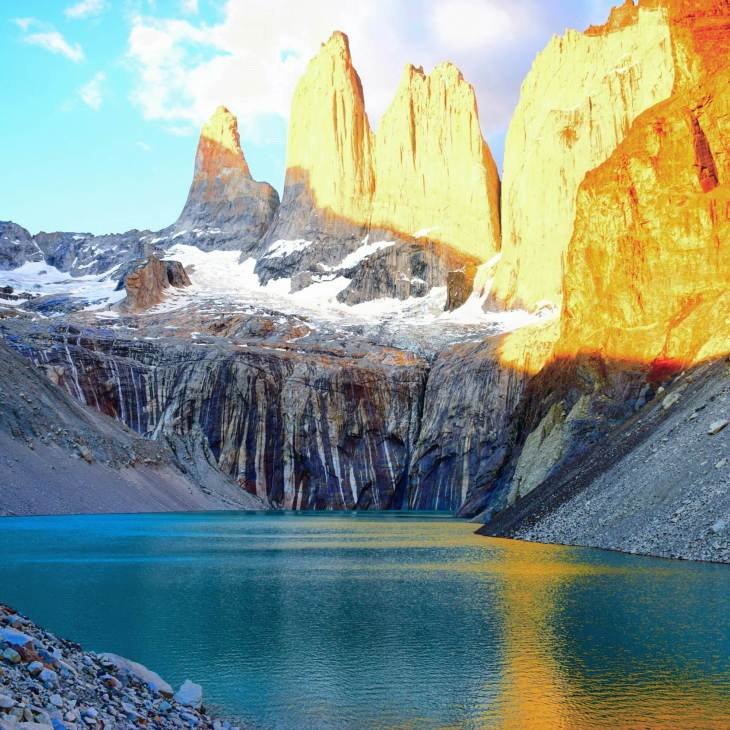 The actual Torres del Paine on the torres del paine w trek