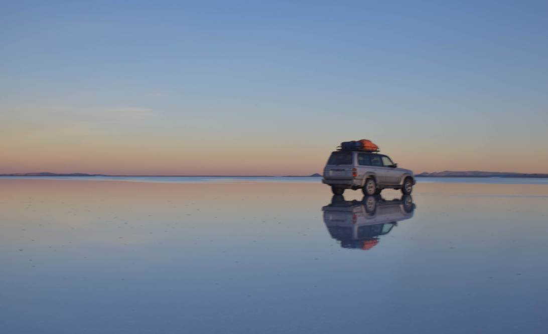 world's largest salt flat at sunset