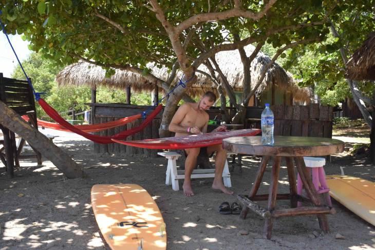 Preparing the boards for San Juan del Sur Surfing