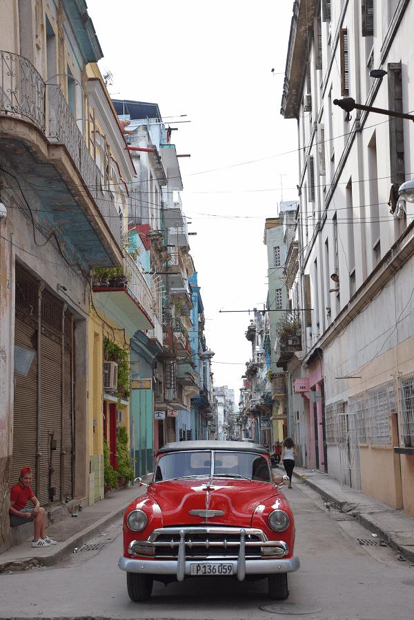 A beautiful car in an old street in central havana cuba