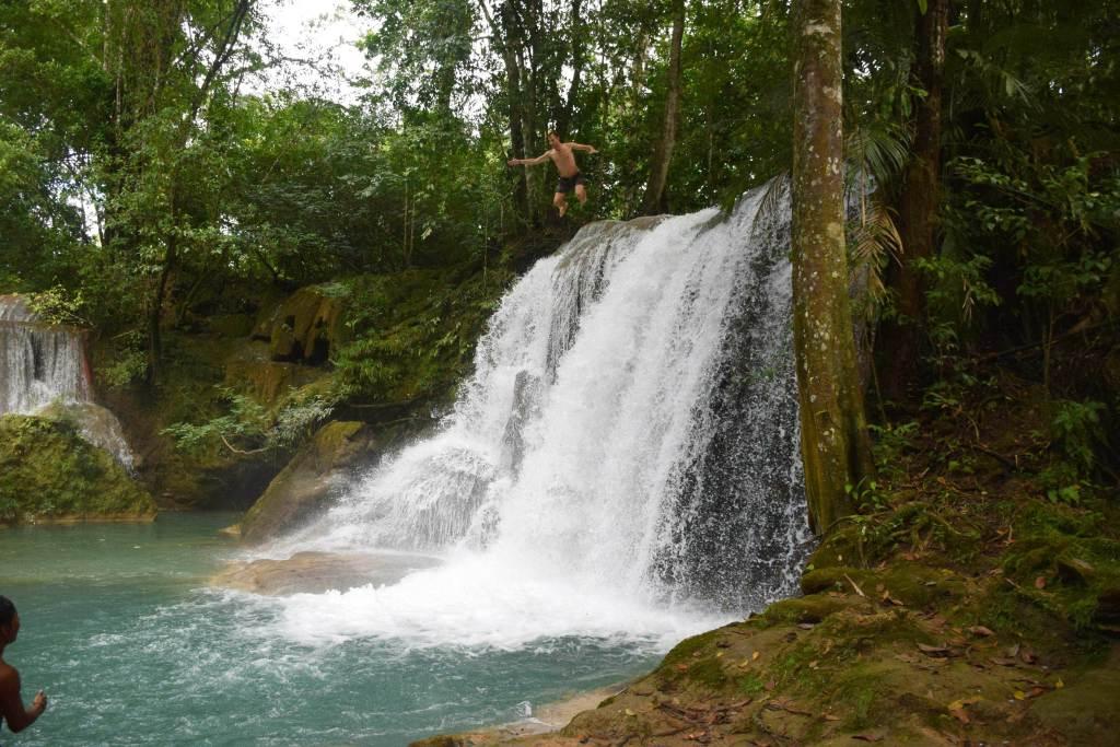 juming off Palenque waterfalls at Roberto Barrios