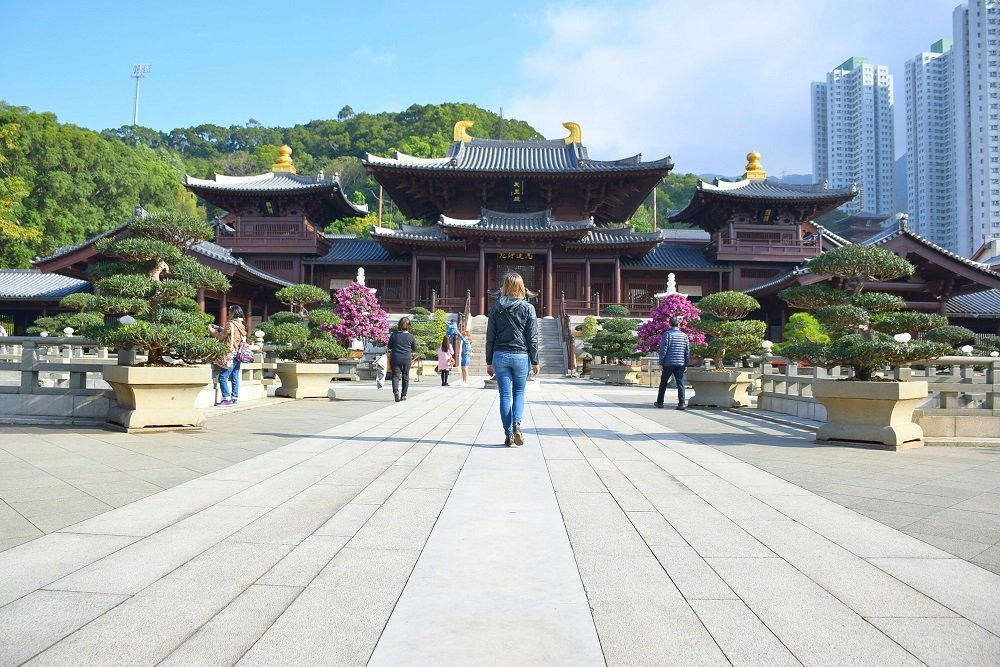 the Nan Lian Gardens while backpacking in Hong Kong