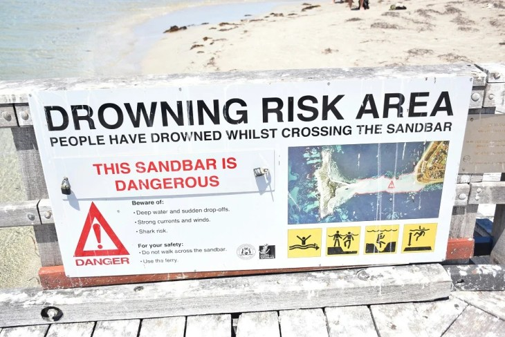 The warning signs on Penguin Island Perth