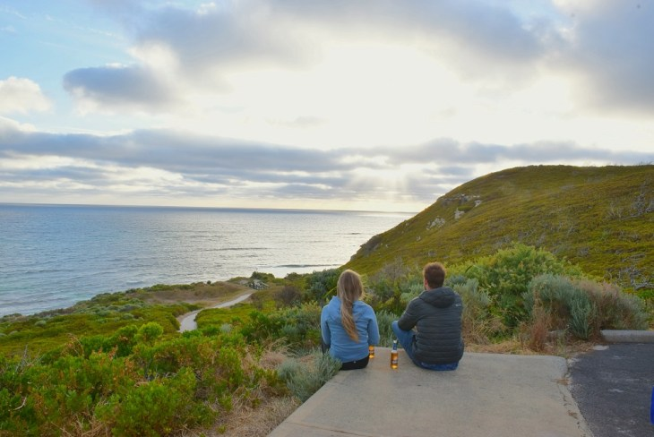 watching the sunset in margaret river