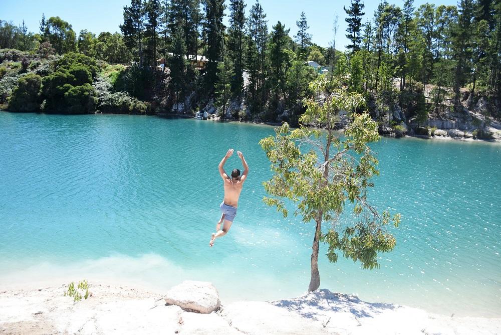 swimming in black diamond lake