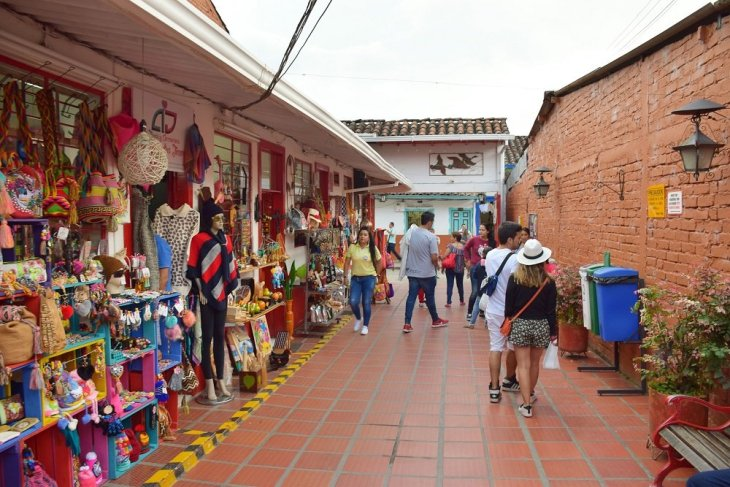 A small walking street in Salento, Colombia