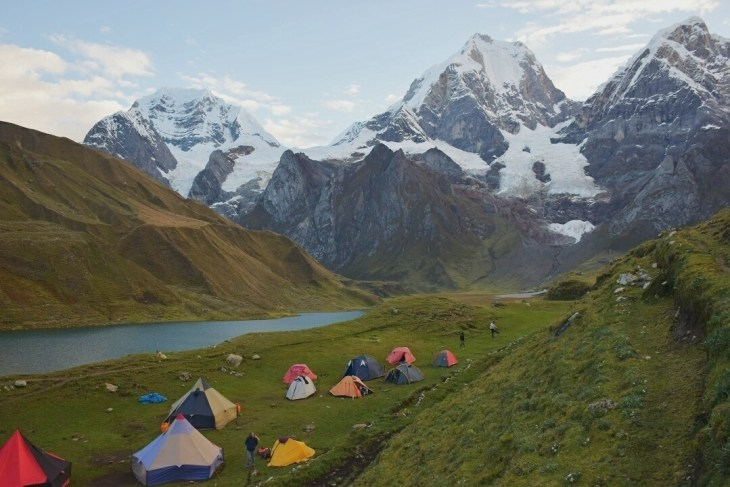 camping on a hike near huaraz