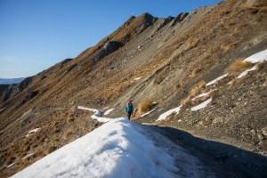 hiking roys peak in winter