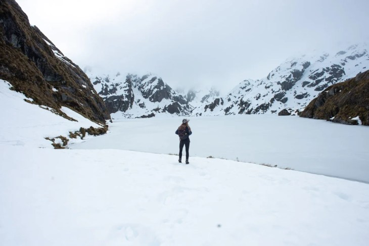 Lake Harris in the winter on the Routeburn Track in New Zealand