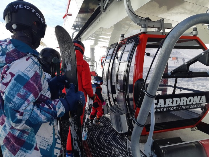 taking the gondola at cardrona