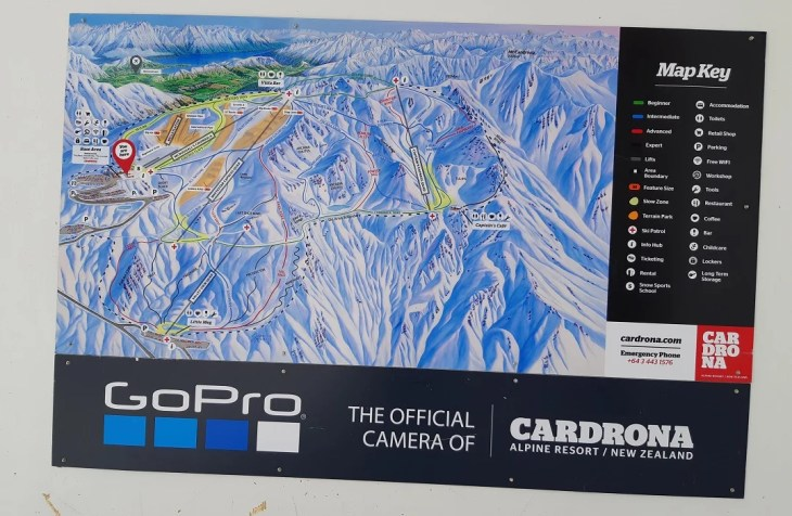 map of all of the runs at cardrona