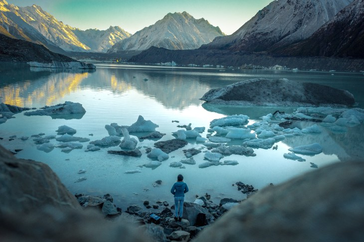 tasman lake is one of the best places to take a photo in mount cook