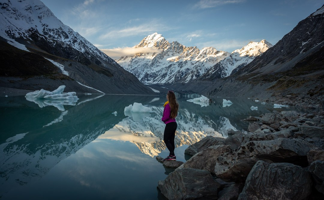 hooker valley lake mount cook reflection photo