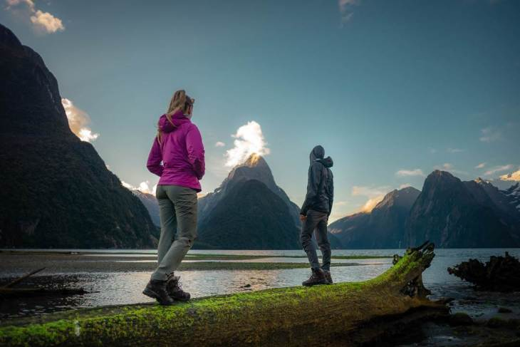 milford sound at sunset