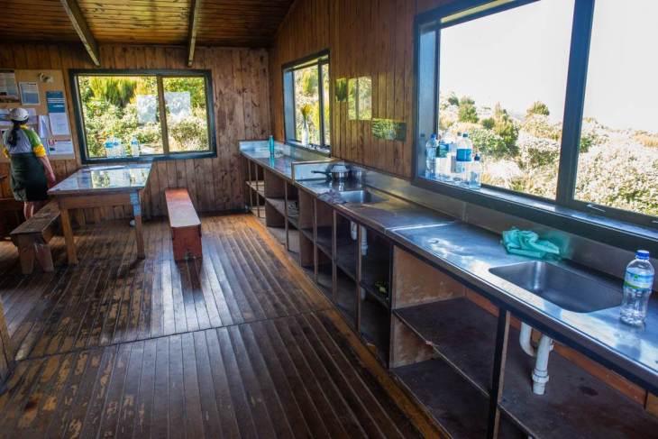 The kitchen at the Pouakiai hut in Mount Taranaki