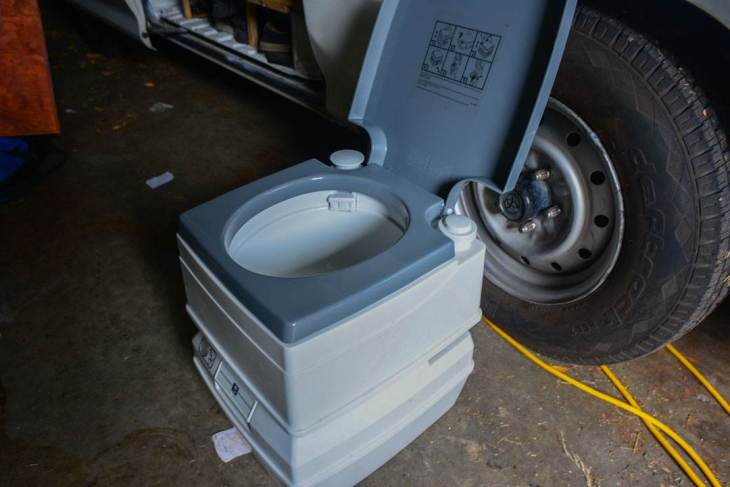 The portable toilets when renting a campervan in New Zealand