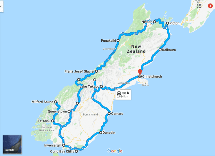 The longest New Zealand road trip on the list of New Zealand road trips, the south island adventure
