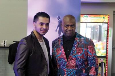 Mayor Baraka (right) at the Black Panther movie screening in Newark.