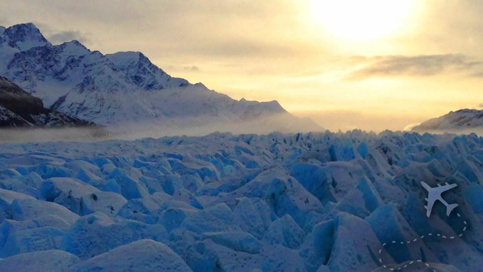 Glacier at sunset in Alaska