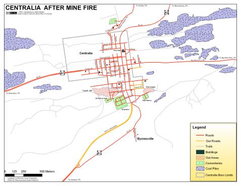 Centralia mine fire map
