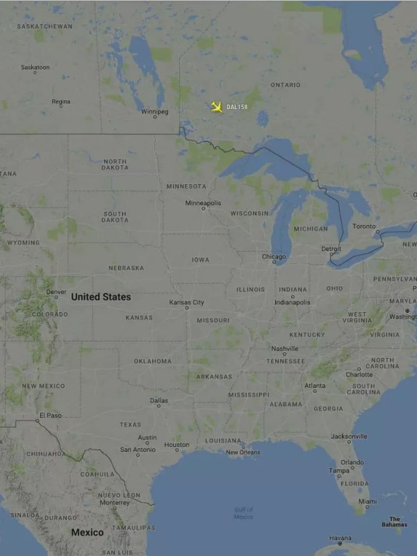 DAL40, only inbound flight to US on 8/8/2016