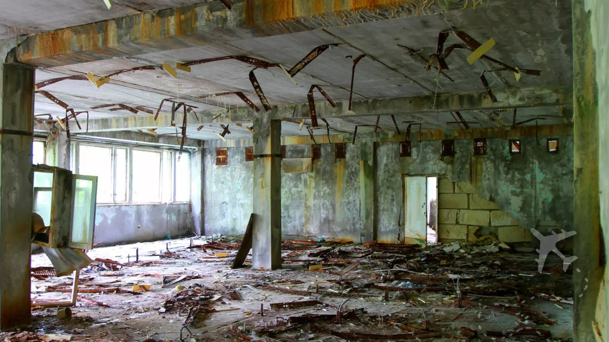 Inside an abandoned building in Pripyat