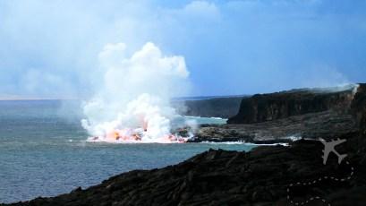 The Big Island lava entering ocean