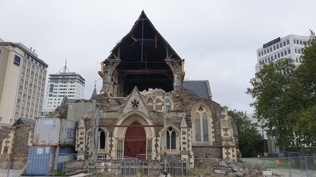 Cathédrale de Christchurch détruite par le tremblement de terre