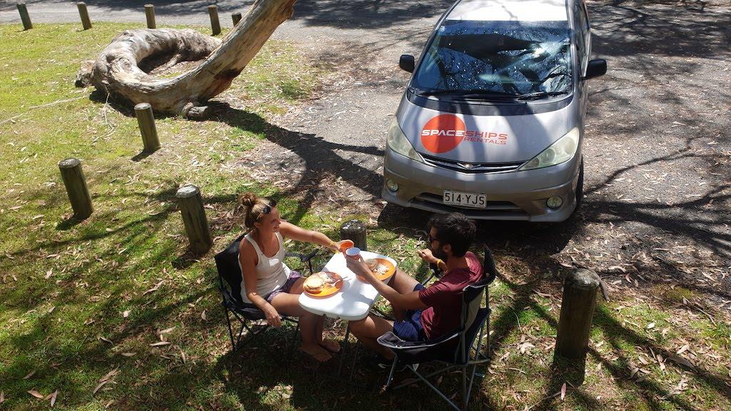 repas pendant location de van en Australie