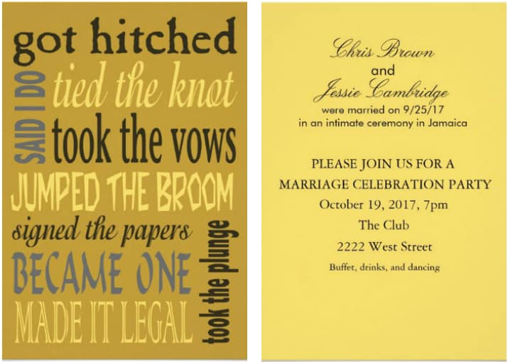 Fun Post Wedding Reception Invitation