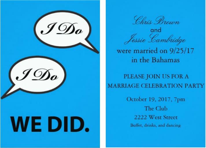 Fun Post Wedding Reception Invitation