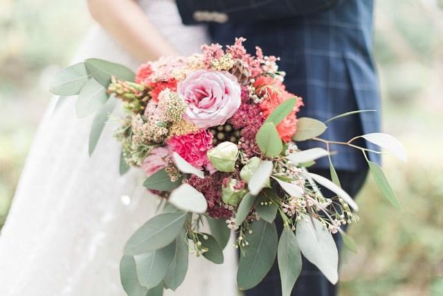 Bouquet de mariage rose Waxflower eucalyptus