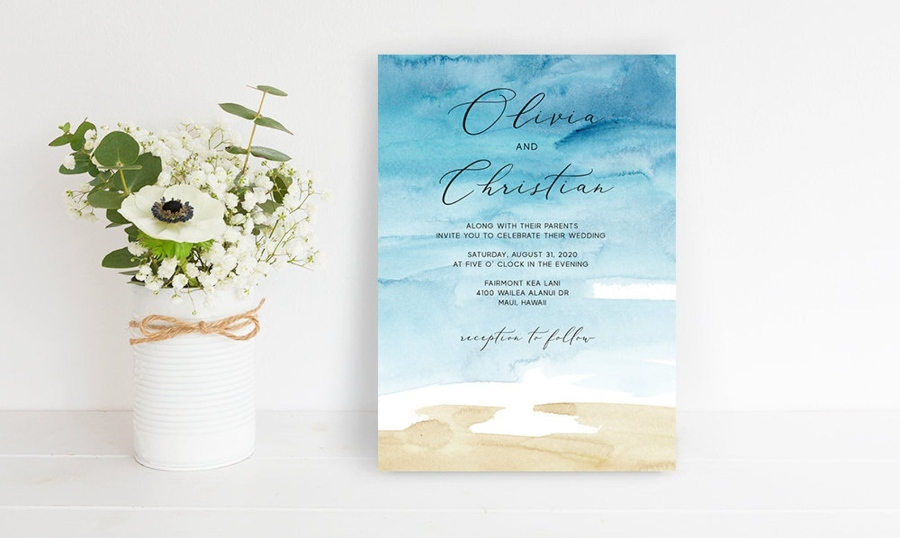 Beach Wedding Invitation Wording  Destination Wedding Details