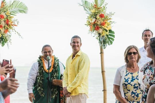 destination wedding private oahu beach 1986