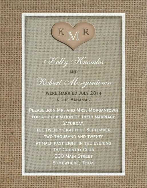 Rustic Post Destination Wedding Invitations Reception 2