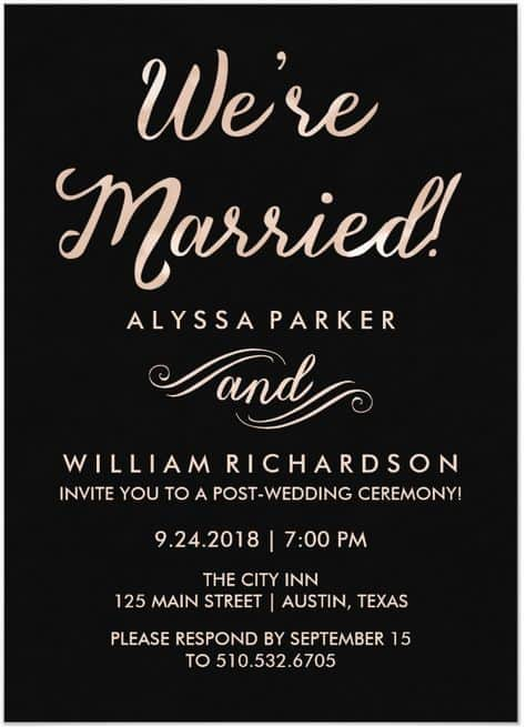 21 Beautiful At Home Wedding Reception Invitations