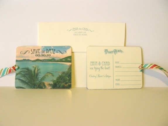 Retro Luggage Tag Save the Dates