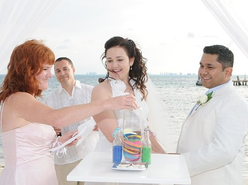 Each Guest Took a Turn Adding Their During Sand Ceremony