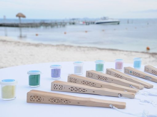 Individual Sand For Sand Ceremony and Fans For Each Guest