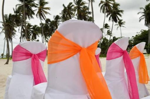 Contrasting Color Sashes for the Guest Seating