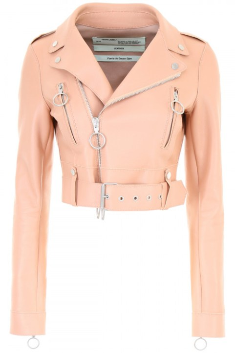 Blush Leather Jacket to Wear Over Wedding Gown