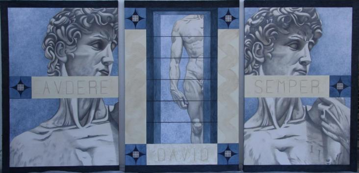 """"""" Audere semper """" trittico olio su tela 240 x 120 AMALIA DI SANTE"""