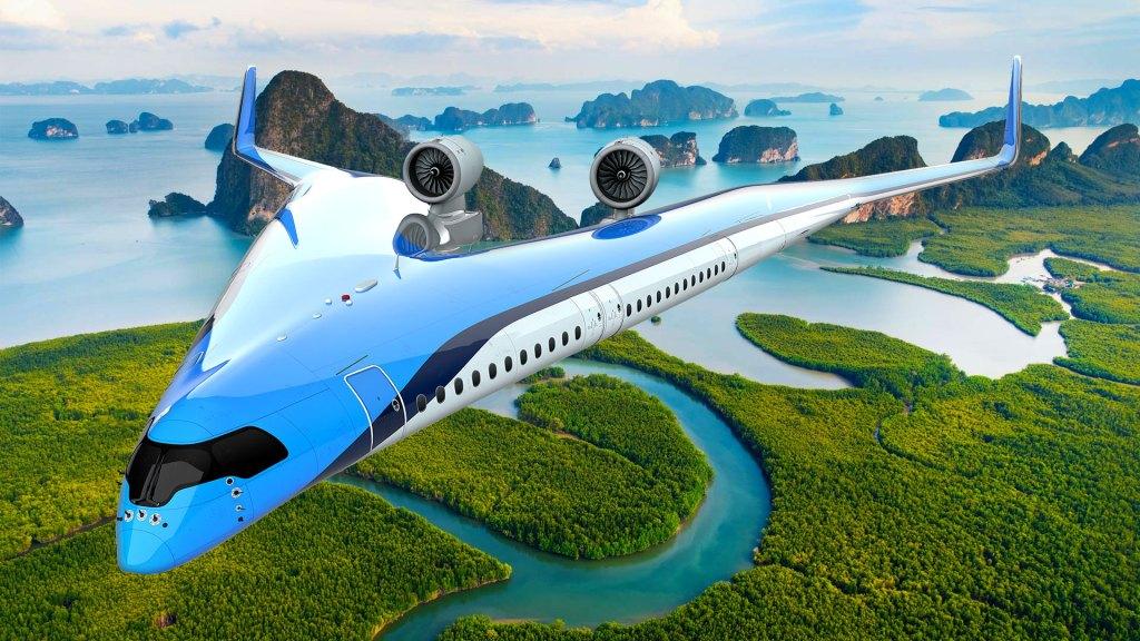 """El concepto aéreo """"Flying V"""" o """"V voladora"""" (Foto: TU Delft/KLM Royal Dutch Airlines)"""