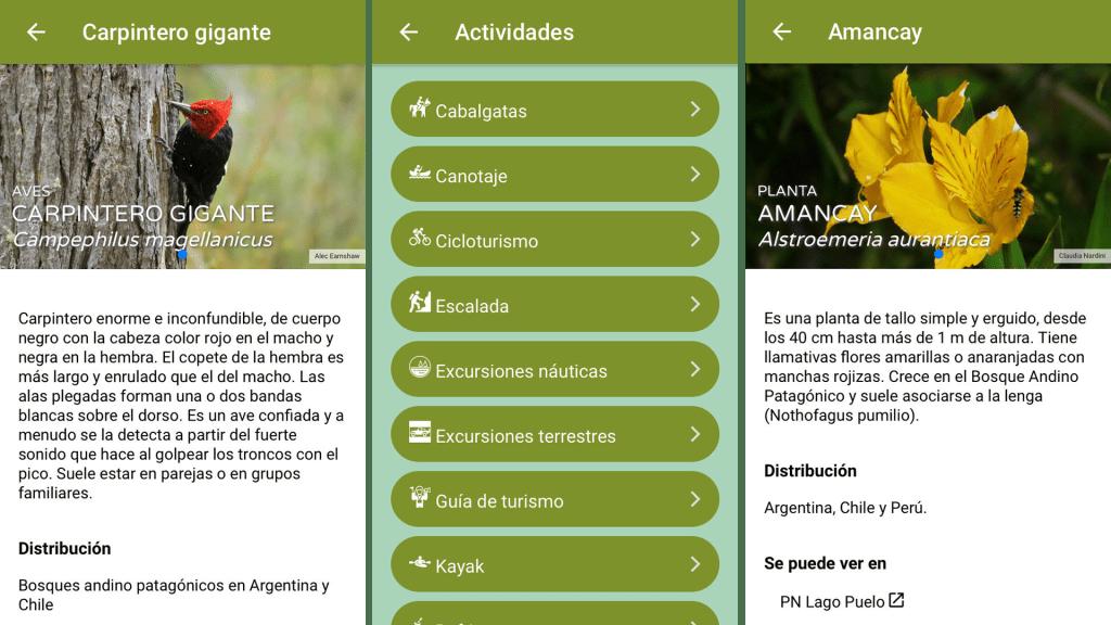 Capturas de pantalla del app Argentina Natural (Foto: Administración de Parques Nacionales)