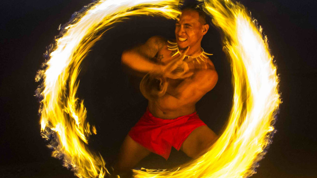 Traditional Samoaan fire dancer