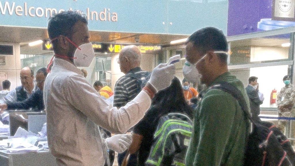 Coronavirus COVID-19 screening at Indira Gandhi International Airport in New Delhi, India