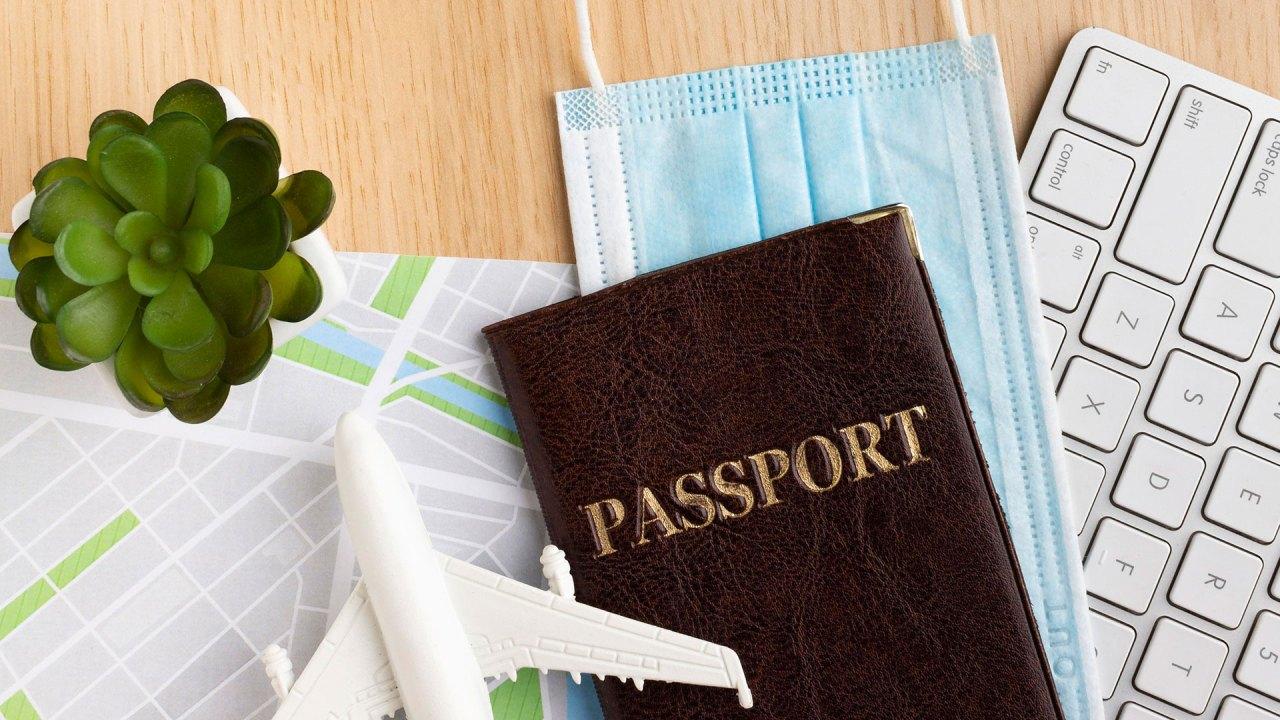 COVID-19: Pasaporte y máscara facial   Passport and face mask