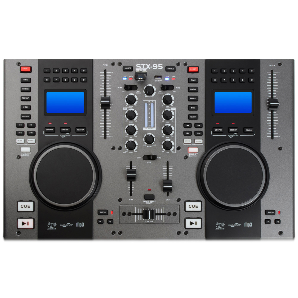 Twin Top Cd Decks Player Mobile Dj Disco Party Mixer Usb