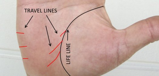 travel lines, what shows travel palmistry