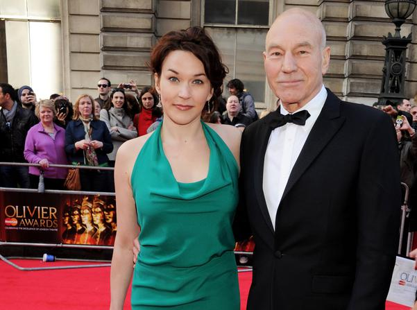 LONDON, ENGLAND - APRIL 15:  (EMBARGOED FOR PUBLICATION IN UK TABLOID NEWSPAPERS UNTIL 48 HOURS AFTER CREATE DATE AND TIME. MANDATORY CREDIT PHOTO BY DAVE M. BENETT/GETTY IMAGES REQUIRED)  Sir Patrick Stewart (R) and Sunny Ozell arrive at the 2012 Olivier Awards held at The Royal Opera House on April 15, 2012 in London, England.  (Photo by Dave M. Benett/Getty Images)